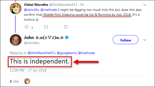 Speed Update And Mobile First Indexing Tweet