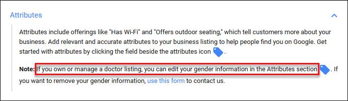 Google My Business Gender Attribute