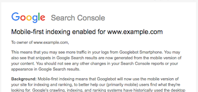 Mobile-first Indexing Message via GSC