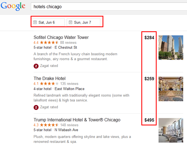 Google SERP Hotels Chicago