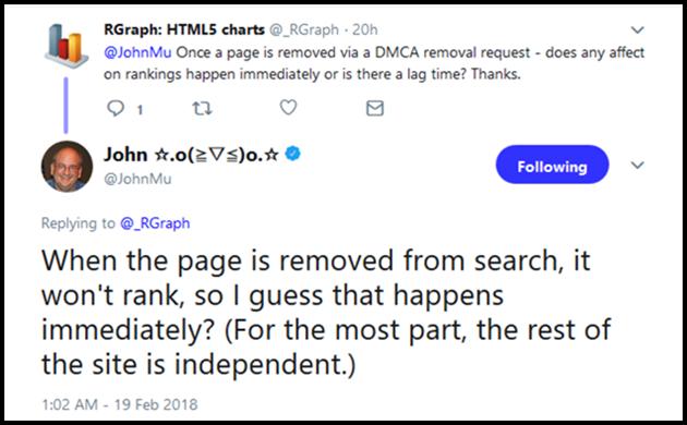 John Mu on DMCA Page Removal