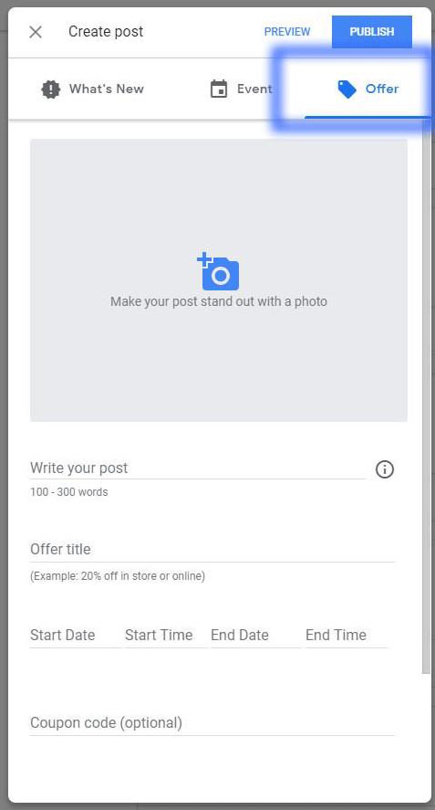 Offer in Google Post