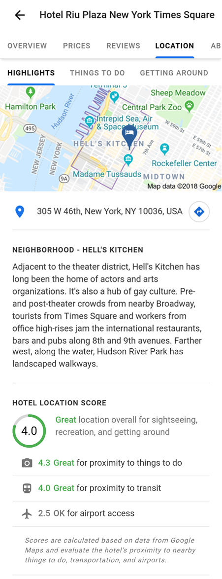 Google Location Score for Hotel Example