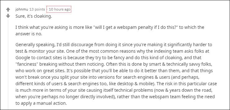 John Mueller Reply On Hreflang Markup Cloaking
