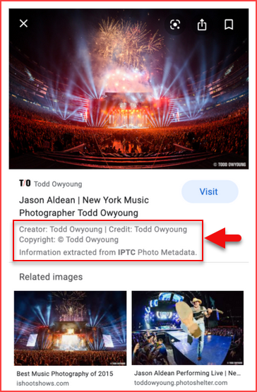 Image Metadata In Google Image Search Results