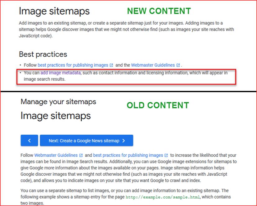 Image Sitemap Page Content Comparison