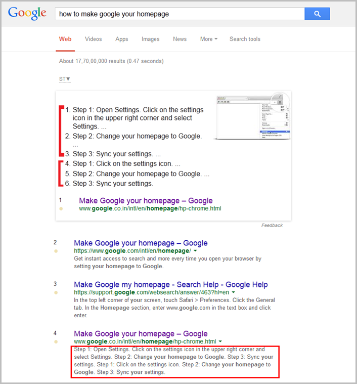 How To Make Google Your Home Page Answer Box