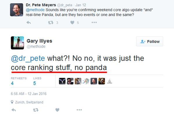 Gary LLLyes Tweet Core Algorithm Not Panda