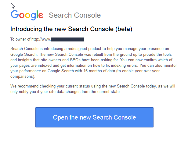 New Search Console Access Message