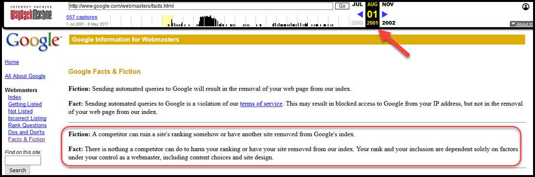 Google's 2001 Statement