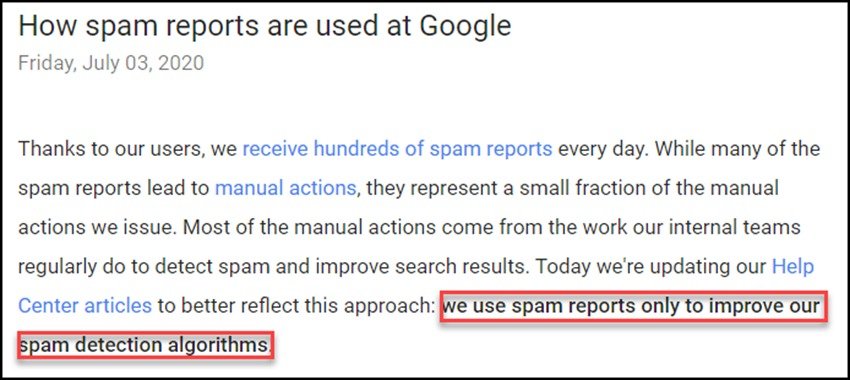 How Spam Reports Are Used
