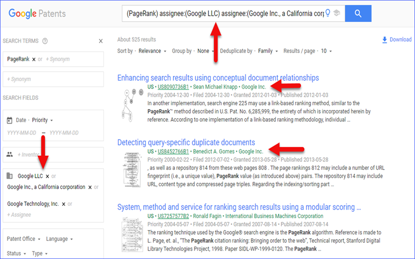 Google's Patents Search Chrome Extension Results